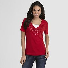 Basic Editions Women's Studded T-Shirt - Clothing - Women's - Tops