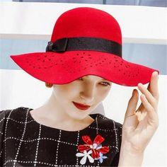 Hollow black felt floppy hat for women fashion bow winter wool hats 9e825b045dd1