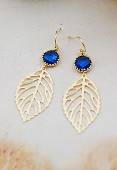 Earrings Leaf charm and Sapphire blue connector drop Earrings