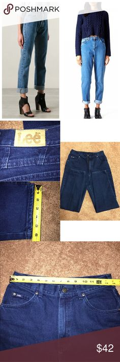 "LEE VINTAGE 90's MOM JEANS DARK BLUE WASH These jeans are in excellent condition! Pictures don't do it justice! Size 10 but fits more like an 8. Inseam 29 1/2""in Check pictures for other measurements. Thanks Lee Jeans"