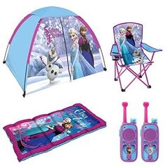 Disney Frozen Indoor/Outdoor Adventure 6 Piece Camp Set - 4' x 3' Tent, Sleeping Bag, Folding Camp Chair with Carry Bag and Walkie Talkies Disney http://www.amazon.com/dp/B014I1ETDA/ref=cm_sw_r_pi_dp_Qeiewb0V1ZXCK