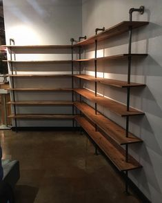 Just installed these custom handmade industrial style shelves this week inside Salon Estilo in the Old Mill District, Bend. Pipe Furniture, Industrial Furniture, Industrial Style, Industrial Shop, Diy Pipe Shelves, Wood Shelves, Shelving Units, Closet Bedroom, Diy Home Decor