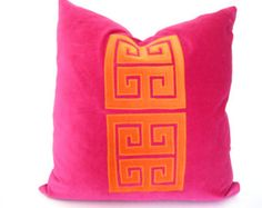 Pink Pillow with Greek Key Trim Fuchsia by ThereseMarieDesigns