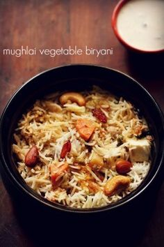 Veg mughlai biryani mughlai veg biryani recipe with step by step photos. mughlai vegetable biryani is a mild, lightly spiced, dum cooked & layered biryani made with rice, spices, mix veggies and dry fruits. Veg Recipes, Indian Food Recipes, Vegetarian Recipes, Chicken Recipes, Cooking Recipes, Healthy Recipes, Indian Snacks, Indian Appetizers, Indian Foods