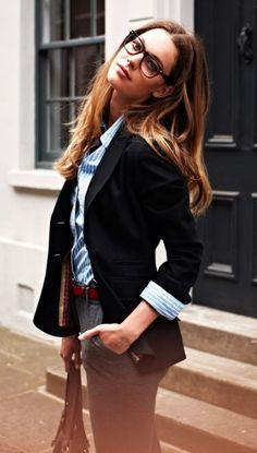 Every work wardrobe needs a light blue button down.