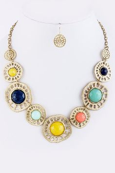 Jewel Statement Necklace with Earrings - Anthropologie Inspired Necklace - Mint, Yellow, Navy and Orange. $30.00, via Etsy.