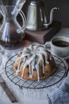 blueberry & rosemary brown butter cake + buttermilk glaze x velo coffee
