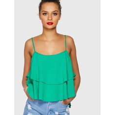 288a7aaced2db Double Layered Cami Top Green. Top PGreenCorsetsRuffle SleeveCamisoles LayersVestTank TopsLayering
