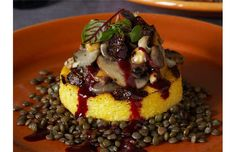 Polenta with Wild Mushrooms, Hazelnuts and Figs #vegan  This recipe will knock your vegan dinner party's socks off!  Truly a gourmet dish! (and it's beautifully plated, as well!)  Cook to impress!