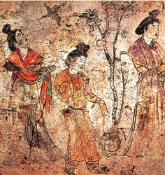 Palace ladies in a garden from a mural of Prince Li Xian's tomb in the Qianling Mausoleum, where Wu Zetian was also buried in 706.