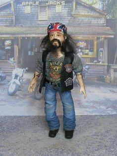 OOAK Miniature Man Biker Harley Dollhouse Motocycle Rider 1:12th Doll Handmade