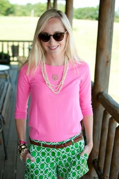 Hot Pink, Kelly Green, a monogram, & pearls --- what more could a girl ask for in an outfit? http://www.pinterest.com/SratStylista/