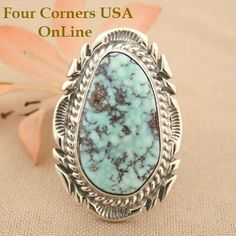 Elongated Dry Creek Turquoise Stone Ring Size 7 1/4 Thomas Francisco Four Corners USA OnLine Native American Indian Silver Jewelry NAR-1431 Turquoise Jewelry, Turquoise Stone, Silver Hoop Earrings, Sterling Silver Jewelry, 925 Silver, Silver Bracelets, Bangle Bracelets, Four Corners Usa, Jewelry Quotes