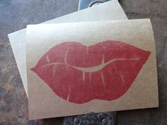 Valentine's Day Stamped Kraft Paper Note Card, Lips, Love, Hugs & Kisses, Hand Carved Stamp, Stamped, Red Lipstick by TheFoxesTail on Etsy