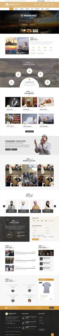 Clean and modern design 2in1 responsive #HTML template for #Mosque, #Islamic Center, Islamic #Institute, Islamic College website download now..