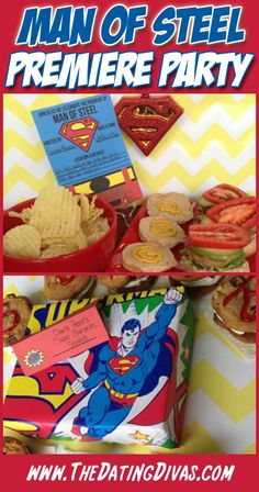 Host a Man of Steel Premiere Party with these easy ideas and free printable invite and food lables! Movie Party, I Party, Party Time, Party Ideas, Superman Birthday Party, Superhero Party, Printable Invitations, Party Invitations, Invite