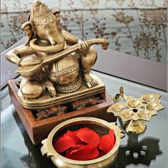Brass Ganesha, brass vignette, Indian inspired vignette, Indian decor
