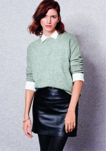 Button down shirt and sweater with leather skirt. Winter 2014 Baukjen Collection cocomamastyle Fall fashion AW14