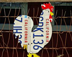 Upcycled Georgia License Plate Chicken Rooster by LicenseToCraft