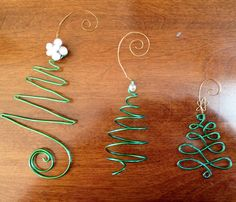 Set of 3 Christmas tree wire ornaments by WiredWeddings on Etsy, $18.00