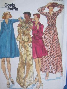 See Sally Sew-Patterns For Less - Clovis Ruffin Designer Fashion Top Dress Skirt
