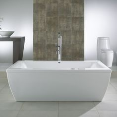 Beautiful Freestanding Whirlpool, Air Tub or Soaking Bath Tub.  A rectangular freestanding bathtub with a design softened by sumptuous curves. Pair with a floor mount or deck mount tub filler