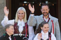 Crown Prince Haakon and Crown Princess Mette-Marit of Norway, Prince Sverre Magnus, Princess Ingrid Alexandra of Norway celebrate Norway National Day on May 17, 2016 in Asker, Norway.