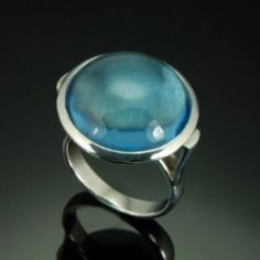 SILVER AND BLUE GLASS RING