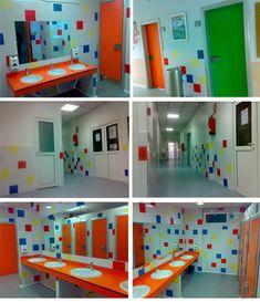 reforma de colegio Brains Kindergarten Interior, Kindergarten Design, School Building Design, School Design, Ecole Design, Daycare Design, School Bathroom, School Murals, School Painting