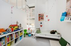 Home Design, White Kids Room Ideas With Book Shelf And Installation Carpet Grey Flooring In Contemporary House Design: Stunning Contemporary House Design with a Striking White Interior Small Apartment Decorating, Apartment Design, Big Girl Rooms, Boy Room, White Kids Room, White Apartment, Stockholm Apartment, Bedroom Apartment, Baby Room Design