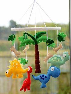 Dinosaur Mobile Dinosaur Nursery Felt Dinosaur Baby Dinosaur Made To Order - Choosing A Baby Name - ideas of Choosing A Baby Name - Dinosaur Mobile Nursery Mobile Baby Mobile Choose by FlossyTots Baby Crafts, Felt Crafts, Diy And Crafts, Crafts For Kids, Mobiles For Kids, Mobile Kids, Mobile Mobile, Baby Nursery Diy, Nursery Ideas