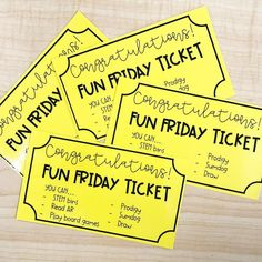 Golden tickets mean it's FRIDAY! When my students complete their choice boards, and any extra work throughout the week, they earn a gold… Classroom Incentives, Classroom Behavior Management, Classroom Activities, Classroom Organization, Behaviour Management, Classroom Ideas, Class Management, Homework Incentives, 4th Grade Activities