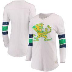 Notre Dame Fighting Irish Original Retro Brand Women's Sleeve Striped Henley Long Sleeve T-Shirt - Cream