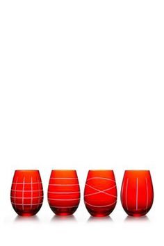 Red Medallion Stemless Goblets - Set of 4