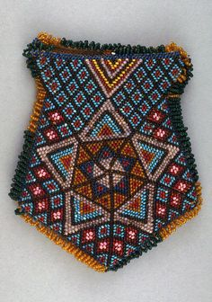 Africa | Pouch from the Zulu people of South Africa | Glass beads and thread | 19th century