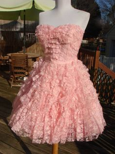Authentic Betsey Johnson Pink Lace Tiered Cocktail Dress 8 | eBay