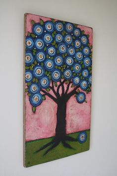 Blossoming Blue Folk Art Tree by Gritty Jane