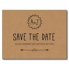 Rustic Country Brown Paper Wedding SAVE THE DATE Custom Monogram Heart Postcard  Love the adorable wreath for the bride and groom initials, as well as the cute hearts and arrows!  Can't beat these beautiful save the sate postcards for only $1.10 each, what a great deal!  #wedding #savethedate #postcards