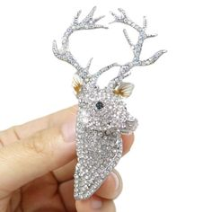 Hot-Selling-2-75-Deer-Head-Clear-Austrian-Crystal-Pin-Brooch-Sliver-Tone-Animal