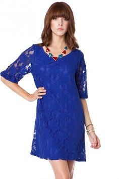 Lotus Lace Shift Dress in Cobalt