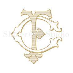 CF Monogram, FC Monogram, Custom Wedding Monogram, Custom Wedding Logo, Vintage Monogram