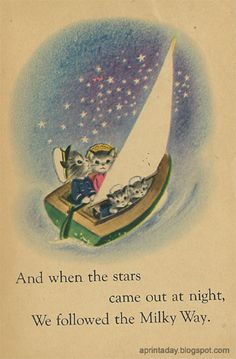 Would make a beautiful framed print for a child's room. I still have this book-Captain Kiity.