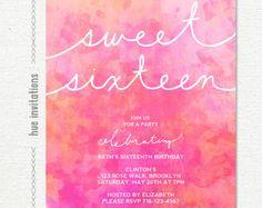 dulce acuarela Ombre 16 cumpleaños invitación por hueinvitations