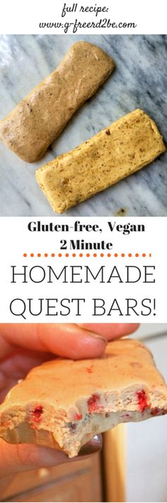 The easiest homemade quest bars recipe! BETTER than the real thing! (vegan versions, too! Protein Snacks, Vegan Snacks, Protein Bars, Low Carb Recipes, Vegan Recipes, Cooking Recipes, Sin Gluten, Gluten Free, Healthy Sweets