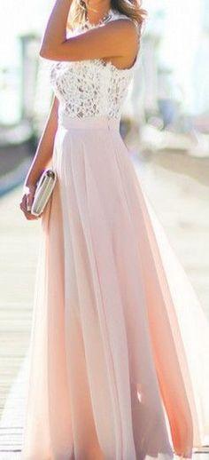 Women's Sleeveless Lace Chiffon Evening Dress