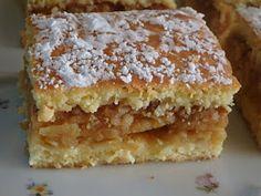 Békebeli almás pite Krispie Treats, Rice Krispies, Bulgarian Bread Recipe, Bread Recipes, Sweets, Desserts, Food, Sheet Cakes, Bakken