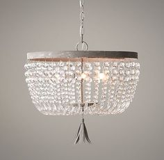 Dauphine Pendant | Pendants | Restoration Hardware Baby & Child to replace master bath pendant - crystal glass beads and aged metal