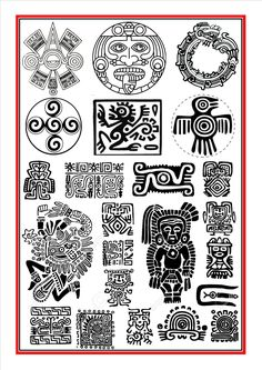 Aztec Calendar Tattoos for Men Ancient Symbols, Aztec Symbols, Tribal Patterns, Tattoos For Guys, Art, Mayan Art, Mexican Art, Mexican Tattoo, American Symbols