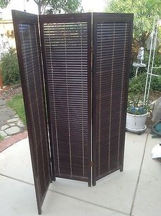 Portable Outdoor Privacy Screens Three Panel Wooden