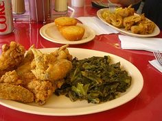 Justin's City Place Cafe Downtown serves collards mac cheese along with it's many options.
